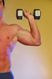 Male with dumbell. Male on yellow holding twenty pound weight Royalty Free Stock Photo
