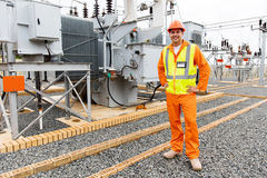Male electrical engineer. Standing in substation Stock Photography