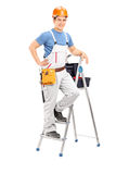 Male electrician standing on a ladder Stock Photos