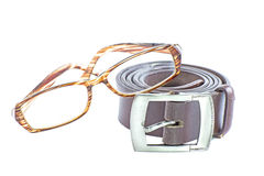 Male elegant belt and glasses isolated on the white Stock Images