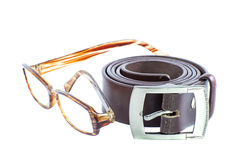 Male elegant belt and glasses isolated on the white Stock Photography