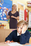 Male Elementary School Pupil Struggling In Class Royalty Free Stock Images
