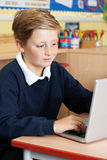 Male Elementary School Pupil Using Laptop In Computer Class. Elementary School Pupil Using Laptop In Computer Class Royalty Free Stock Photo