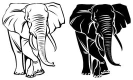 Male elephant. Brush stroke silhouette and line art male elephant drawing Royalty Free Stock Images