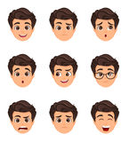 Male emotions set. Facial expression. Cartoon character with var. Ious face expressions. Vector illustration Royalty Free Stock Photos