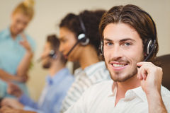 Male employee working in call center Stock Photography