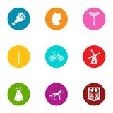Male employment icons set, flat style. Male employment icons set. Flat set of 9 male employment vector icons for web isolated on white background stock illustration