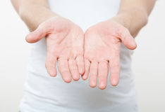 Male empty palms royalty free stock image