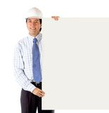 Male engineer with a banner Stock Images