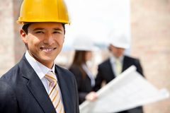 Male engineer at a construction site Royalty Free Stock Photos