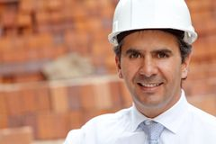 Male engineer at a construction site Royalty Free Stock Photo