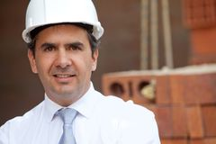 Male engineer at a construction site Stock Images