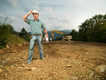 Male engineer on construction site Royalty Free Stock Images