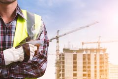 A male engineer  construction site. A male engineer is working at a construction site Royalty Free Stock Images