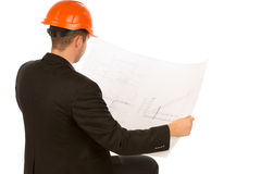 Male Engineer Looking at Blueprint Design Royalty Free Stock Photography