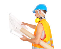 Male engineer looking at blueprints Royalty Free Stock Photography