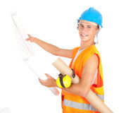 Male engineer looking at blueprints Royalty Free Stock Photos