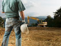 Male engineer on worksite Stock Photo