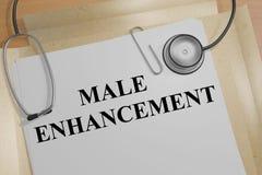 Male Enhancement concept. 3D illustration of MALE ENHANCEMENT title on a document Stock Images