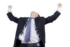 Male entrepreneur celebrating his victory. Successful businessman with arms up celebrating his victory, isolated on white background Royalty Free Stock Photo