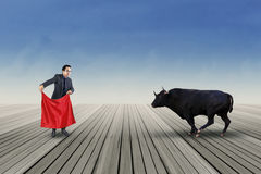 Male entrepreneur fight with a bull Royalty Free Stock Photos