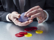 Male entrepreneur gambling for challenge and risk Royalty Free Stock Photography