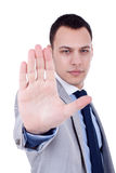 Male entrepreneur showing stop Stock Images