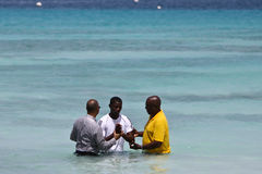 Male Evangelist Baptism. Illustrates the traditional yearly evangelist baptism that is made every year in christ church Barbados on February 10th where members Royalty Free Stock Image