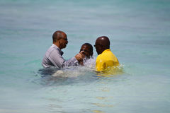 Male Evangelist Baptism. Illustrates the traditional yearly evangelist baptism that is made every year in christ church Barbados on February 10th where members Stock Photos