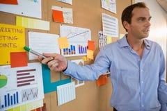 Male executive explaining the graph on bulletin board Stock Image
