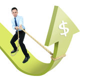 Male executive man pulling an arrow up Royalty Free Stock Photography
