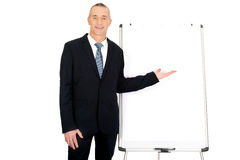 Male executive presenting on flip chart Royalty Free Stock Photos