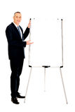 Male executive presenting on flip chart Royalty Free Stock Photography