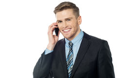 Male executive talking via mobile phone Royalty Free Stock Image