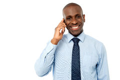 Male executive talking via mobile phone Stock Photo