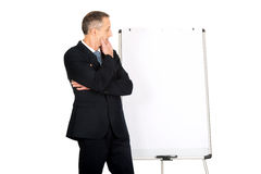 Male executive thinking about presentation Royalty Free Stock Images