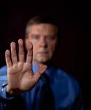Male executive touches sensor Royalty Free Stock Image