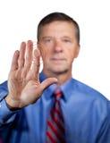 Male executive touches sensor Stock Photography