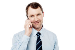 Male executive using is cell phone Royalty Free Stock Photo
