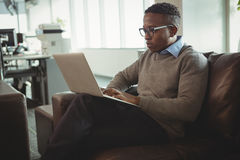 Male executive using laptop Stock Photo