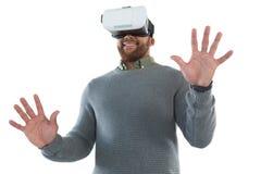 Male executive using virtual reality headset stock photos