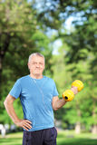 Male exercising with weight in a park Stock Photos