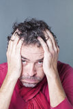 Male exhaustion concept for salt and pepper man Stock Image