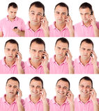 Male expressions on the phone. Portraits of male with pink shirt talking on the phone in multuple expressions Royalty Free Stock Images