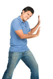 Male Extended Arms Pushing Against Side Object Royalty Free Stock Photo