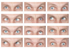Male eyes with different emotions Stock Image