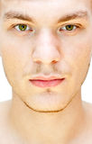 Male face. On a white background stock photo