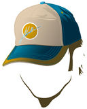 Male face with baseball cap. Male face with blue baseball cap and yellow dot Royalty Free Stock Photography