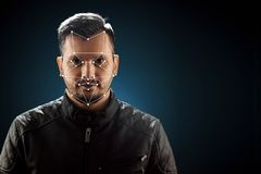 Male face, Biometric verification face recognition. Technology of face recognition on polygonal grid is constructed by stock photo
