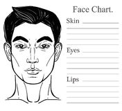 Male face chart make up artist blank. Stock Images